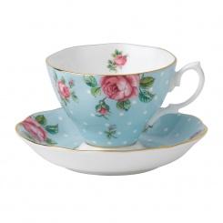 Kaffeetasse & Untertasse Polka Blue - 0,17l