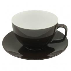 Tasse und Untertasse braun - 0,43l