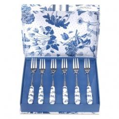 Kuchengabeln Botanic Blue - 6er Set