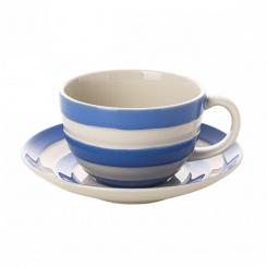 Frühstückstasse & Untertasse Cornish Blue - 0,34l