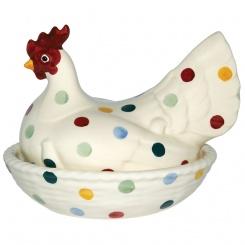 Große Henne auf Nest Polka Dots
