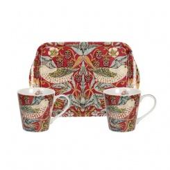 Mugs & Tray - Strawberry Thief Red