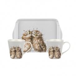 Mugs & Tray - Wrendale Owl