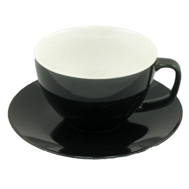 Tasse und Untertasse schwarz - 0,43l