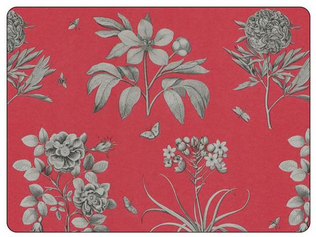 Etchings & Roses Red - Tischsets 6er 23x30cm