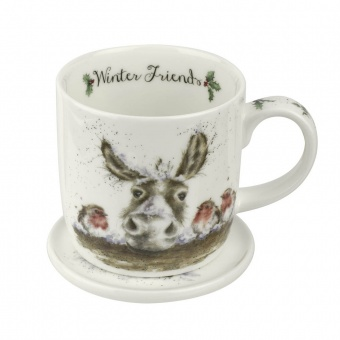 Becher & Untersetzer Set Winter Friends - 0,31l